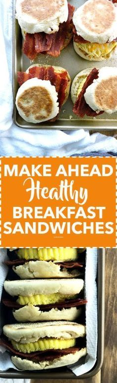 Make Ahead Healthy Breakfast Sandwiches are the perfect way to start the day. Breakfast sandwiches you can make ahead and refrigerate. Source by freshfitkitchen Make Ahead Brunch Recipes, Make Ahead Breakfast Sandwich, High Protein Breakfast, Best Breakfast, Healthy Breakfast Recipes, Breakfast Sandwiches, Breakfast Ideas, Healthy Recipes, Yummy Recipes