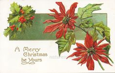 A Merry Christmas Be Yours Postcard, 1915 Poinsettia and Holly Christmas Wishes Antique Post Card  #naturegirl22 on Etsy #NaturesWalkVintage