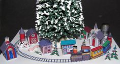 Paper Minis: 1/144 scale Miniature Train and Village. So cute under a dollhouse Christmas tree!