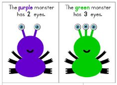 """AWESOME For counting and colors. todds, up could do a page a day and send the book home at the end of the week. Make parents ask, """"What color was your monster? How many eyes did your monster have? Fall Preschool Activities, Numbers Preschool, Preschool Books, Preschool Printables, Preschool Crafts, Counting Activities, Printable Worksheets, Monster Classroom, Monster School"""