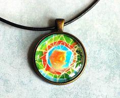 Art Pendant Mandala Pendant Art Jewelry Art by evartstudio