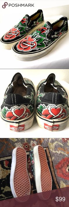 Vans by Oliver Peck Rose RARE tattoo art Mens size 7.5 women's size 9. Vans Shoes Flats & Loafers
