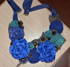 """Купить Колье """"Синие розы"""" - синий, колье с розами, синее колье, синее украшение"""