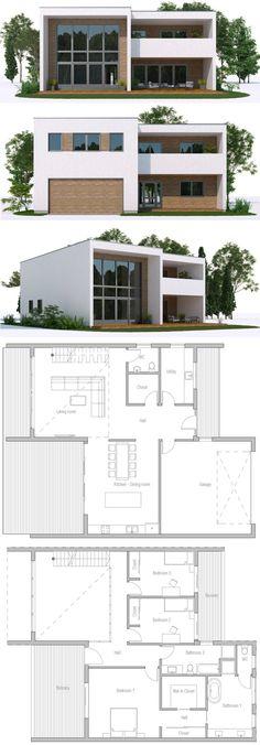 Architecture House Plan, Home Plans, Casa Moderna Modern House Plans, Small House Plans, Modern House Design, Villa Design, Building A Container Home, Container House Plans, Container Homes, Entrance Design, House Entrance