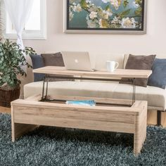 The Mackinac Lift Functional Coffee Table provides a unique way to store your belongings. It has solid mid-section that opens and lifts to use as a computer or writing desk. Allowing for seating with