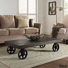 Shield your gatherings with a stalwart coffee table positioned on four immobile metal wheel casters.