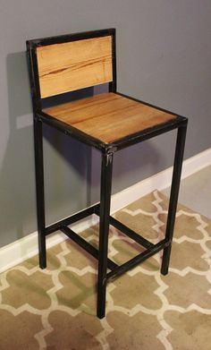 Metal & Reclaimed Wood Bar Stools - NO ASSEMBLY NECESSARY - Industrial Modern with Rustic  Wooden Top