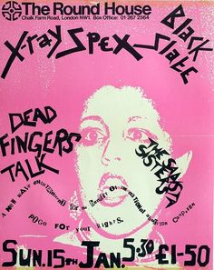 X-Ray Spex: silk screened concert poster for a benefit show, Sunday 15th January 1978