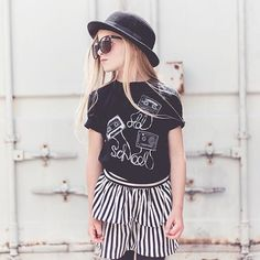 kid fashion, stripe skirt, onyx avenue apparel, h&m kids, persnickety clothing, tween fashion, fall fashion, ootd inspo, cbowler hat, scout fashion, phoenix street photography, stylish kids