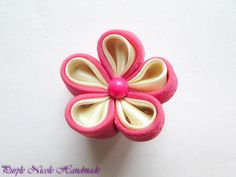 Geisha - Handmade Floral Broach by Purple Nicole (Nicole Cea Mov), pink and cream handmade kanzashi satin and silk flower.