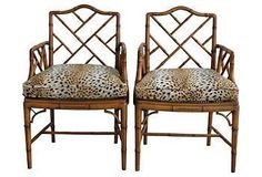 When you mix a few unexpected finds with classic pieces, the result is anything but old-fashioned. A dash of leopard, a hint of bright color—pair these with leather and wood furniture in timeless forms for a room that sparkles with style and personality. Chinoiserie Chic, Faux Bamboo, Wood Furniture, Dining Chairs, New Homes, Chinese, Interior Design, Armchairs, Kings Lane