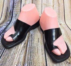 CLARKS Black Patent Leather Slide Sandals Size 7.5 M Slip On Comfort Thong Shoes #Clarks #Slides #Casual