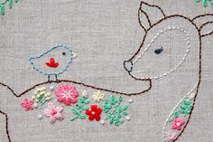 Daisy the Floral Deer Embroidery Pattern by FlamingoToes on Etsy