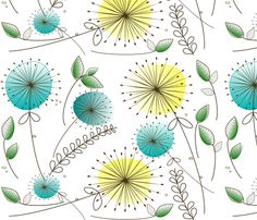Mid-Century Modern Fabric - Mid-Century Dandelion Clocks By Bg Com - Retro Vintage Mod Fabric by the Yard With Spoonflower Watercolor Cards, Watercolor Flowers, Watercolor Paintings, Watercolors, Pattern Art, Pattern Design, Print Patterns, Illustration Blume, Mid Century Modern Fabric