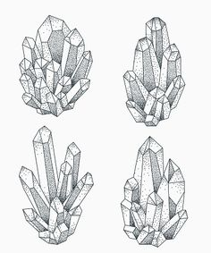 Crystal Illustration, Tattoo Illustration, Colorful Drawings, Art Drawings, Blackwork, Crystal Drawing, Crystal Tattoo, Witch Art, Environment Concept Art
