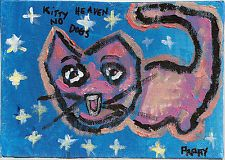 Original FUN CaT Pappy-B Self Taught PAINTING RAW OUTSIDER Folk Art