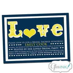 Bridal Shower Invitation  LOVE Modern navy blue and by GlossInk