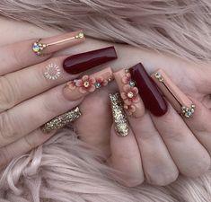 Burgundy Acrylic Nails, Bling Acrylic Nails, Best Acrylic Nails, Bling Nails, Swag Nails, Coffin Nails, Autumn Nails Acrylic, Cute Acrylic Nail Designs, Fall Nail Art Designs