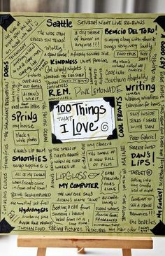 100 things that I Love. Great idea for students to put in their Writer's Notebook and use to help them find ideas for writing. Wonderful Art Journal idea, too! Teaching Writing, Writing Prompts, Writing Ideas, Memoir Writing, Creative Writing, Journal Inspiration, Smash Book Inspiration, Filofax, Love Journal