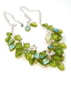 Green Beaded Necklace Bib Necklace Flower by CherylParrottJewelry, $134.95