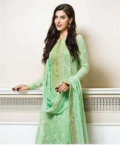 Silk Chiffon Suit with Dupatta | I found an amazing deal at fashionandyou.com and I bet you'll love it too. Check it out!