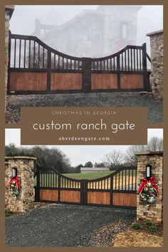 Beautiful custom gates decorated for Christmas in Georgia. These gates are aluminum that has been faux-painted wood and rubbed bronze. They are lighter weight and easier on automation equipment than traditional steal, and a lot lower maintenance than wood. We'd love to help you design your next driveway gate! Modern Ranch, Modern Farmhouse Style, Modern Rustic, Farm Entrance, Driveway Entrance, Security Gates, Iron Gate Design, Farm Plans, Custom Gates