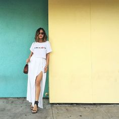 Photo from Song of Style : I love a good side slit action. Comes in handy when you're dancing to Armenian music. ( on my snapchat -@songofstyle)   T-shirt by www.twosongs.com