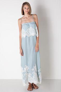 Victorian Long Dress in Mist Blue by Gold Hawk for $279.00