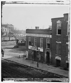 Intelligencer Office near railroad depot.    Photograph of the War in the West. These photographs are of Sherman in Atlanta, September-November, 1864. After three and a half months of incessant maneuvering and much hard fighting, Sherman forced Hood to abandon the munitions center of the Confederacy. Sherman remained there, resting his war-worn men and accumulating supplies, for nearly two and a half months.