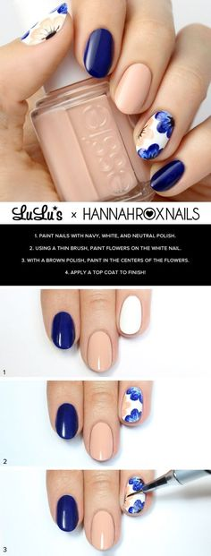 Pretty nude and navy blue floral nail tutorial.: