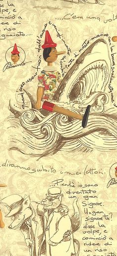 Pinocchio Christmas paper from Italy by Kartos