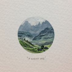 Day 231: The Drakensberge - tiny watercolour | 365 Paintings For Ants / Lorraine Loots