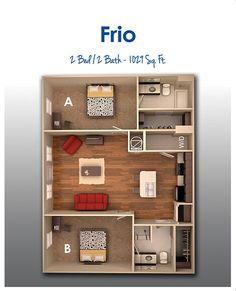 Frio 3d House Plans, 2 Bedroom House Plans, House Layout Plans, Floor Plan Layout, Dream House Plans, Modern House Plans, Small House Plans, House Layouts, Apartment Layout