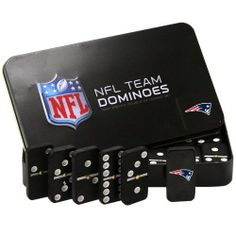 "NFL New England Patriots Domino Set in Metal Gift Tin by Rico. $13.95. Officially Licensed. 28-piece set. Comes in Gift Tin. Double-Six Set. Play the classic game of Dominoes with Rico Tag's 28 piece officially licensed set.  Printed with team design on one side.  Makes an attractive gift in its embossed tin.  Dominoes measure approximately 2"" x 1"" x .375"" and is a ""double-six"" set."