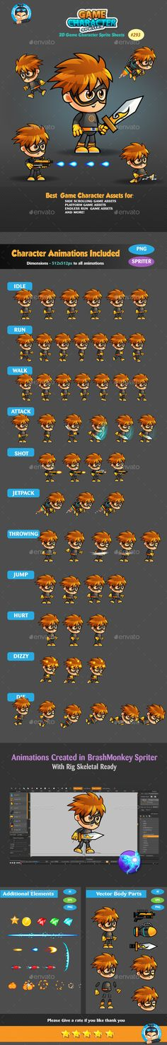 2D Game Character Sprites 293 — Vector EPS #2d #side scroller • Available here → https://graphicriver.net/item/2d-game-character-sprites-293/19269415?ref=pxcr