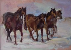 Winter trot, oil on card