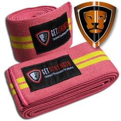 Getstrength Knee Wraps Length 2 Meters Colour: Pink Supportive, comfortable and flexible pink Knee Wraps The Getstrength pink Knee Wraps are used for protecting the knee's during heavy squatting movements and general exercise Knee Wraps, Auckland New Zealand, Drink Sleeves, Pairs
