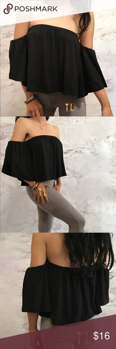 """Lovely flowy off shoulder black crop top •brand new  •ships tomorrow •brand: Timeless Look •no trades  •true to size  •super sexy loungy flowy form fitting fit   Small: 32-34 length 10.5 in Medium: 34-36 length 11in Great for everyday use super hip bohemian style Feats: flowy tube top with bell sleeve short sleeve elastic top sleeves  Model: goguiortz in insta  (account manager in @timelesslook) modeling small  Please visit """"Closet Rules"""" for more info about us :) Tops Crop Tops"""