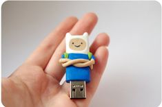 USB flash drive Adventure time with Finn and Jake, back to school usb 16 gb, polymer clay usb, back Polymer Clay Dolls, Polymer Clay Charms, Techno Gadgets, Doodle Characters, Stationary School, Diy Clay, Clay Art, Adventure Time, Usb Flash Drive
