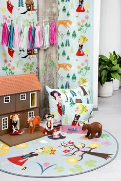 """Meri Mort, Helsinki, Finland based illustrator for Vallila Interiors """"Mimmit"""" fabric collection The filted characters made by Paula Mela. Green Curtains, Cushions, Kids Rugs, Helsinki, Finland, Fabric, Characters, Interiors, Illustrations"""