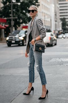 Blonde Woman Wearing Zara Plaid Blazer Denim Ripped Jeans Gucci Marmont Handbag Christian Louboutin Black Pumps Fashion Jackson Dallas Blogger Fashion Blogger Street Style