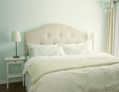 Jenna Sue: DIY Upholstered Tufted Headboard...  This looks so easy and affordable!  I'm totally doing this!