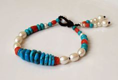 Turquoise gemstone bracelet with Coral and by DancingLotusDesigns