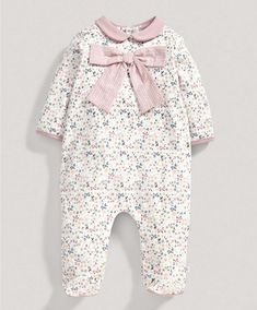 New baby gro....love anything with bows on!! xXx Girls Floral Bow All in One - New Arrivals - Mamas & Papas