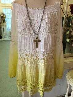 Perfect for Spring~~ Yellow & White Off-the-Shoulder Dress!!  So Cute <3