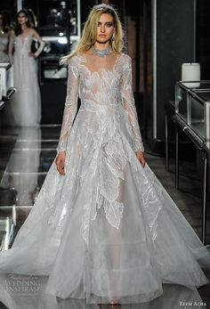 reem acra spring 2018 bridal long sleeves scoop neckline heavily embellished bodice elegant romantic a  line wedding dress sheer button back chapel train (20couture) mv -- Reem Acra Spring 2018 Wedding Dresses