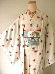 White kimono with blue and pink print