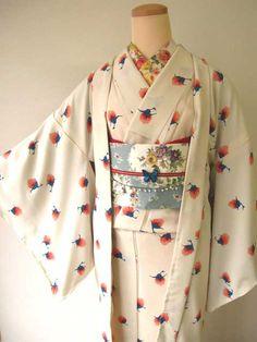 White kimono with blue and pink print
