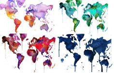 Watercolor World Map Series by JessicaIllustration (Jessica Durrant) @ Etsy