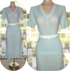 Vintage 70s Sexy Sky Blue Crochet Knit Skirt & Sweater M/L Dress Set Sexy Curvaceous. $49.99, via Etsy.